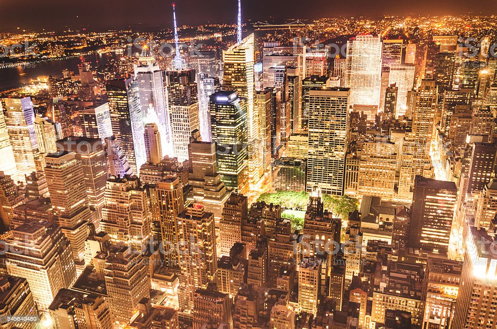 New York City aerial view skyline stock photo