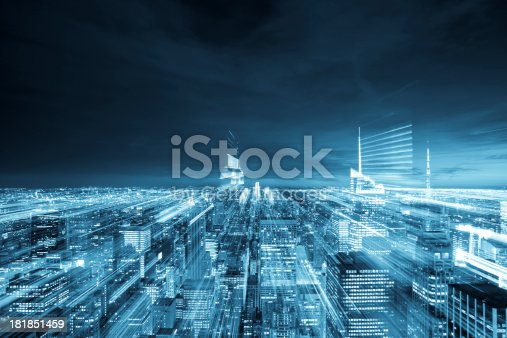 New York City aerial view with abstract motion blurred lights