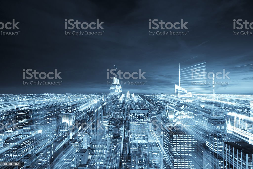 New York City aerial view with abstract motion blurred lights stock photo
