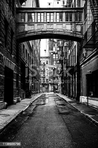 New York City, USA. Famous alley in Tribeca district