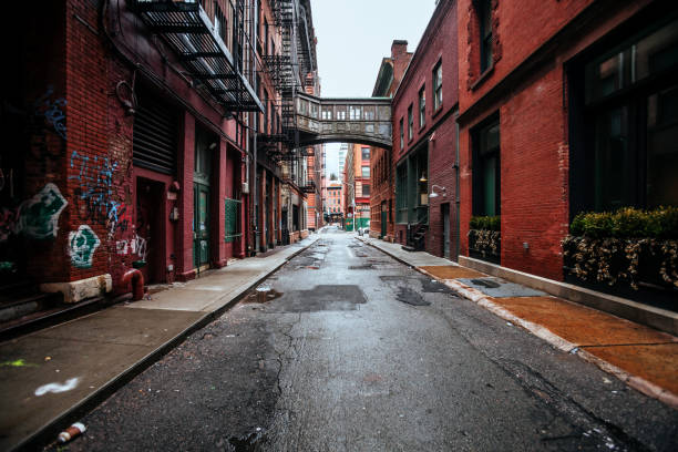 New York City - alley in Tribeca district stock photo