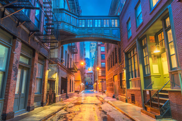 New York City Alleyways Alley in the Tribeca neighborhood in New York City. alley stock pictures, royalty-free photos & images