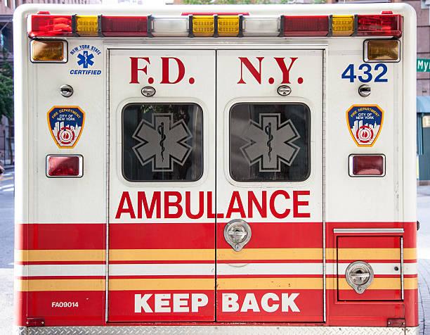 New York City ambulance rear view stock photo