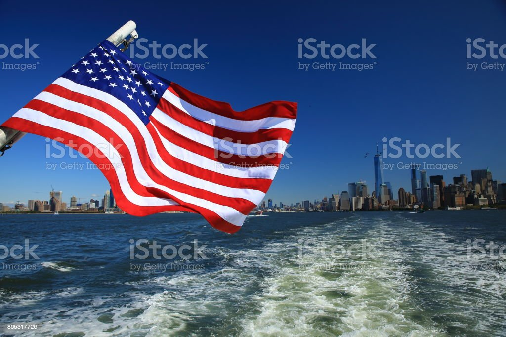 New York City, drapeau américain stock photo