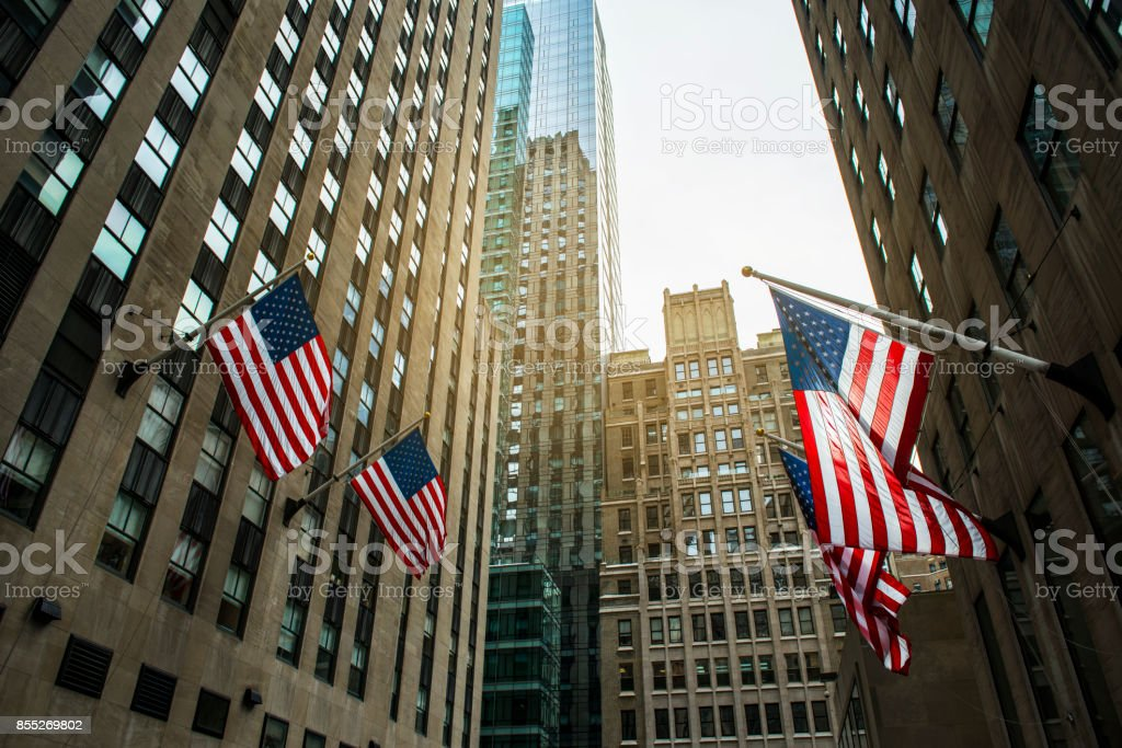 New York City And American Flags stock photo