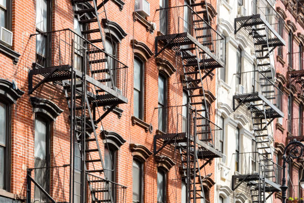 New York City apartment buildings exterior view stock photo