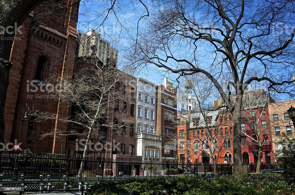 New York City, Architectural contrasts cityscape, Greenwich Village Manhattan stock photo