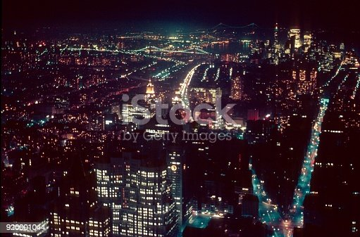 New York City, NYS, USA, 1968. Manhattan seen at night from the Empire State Bilding.