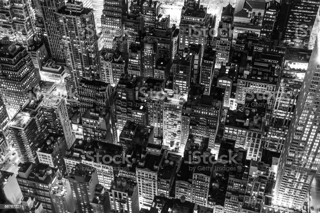 New York City at night in black and white stock photo