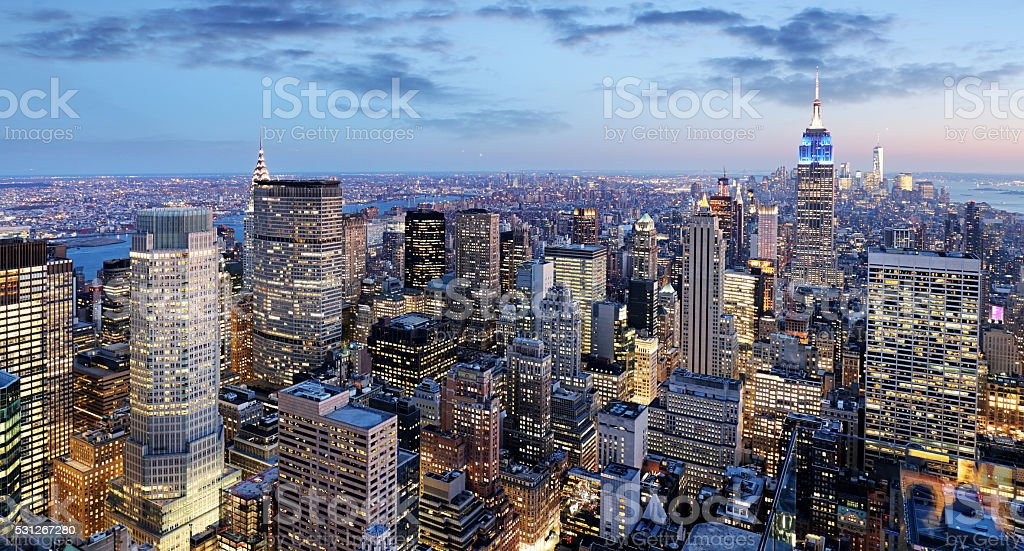 New York city at night, Manhattan, USA stock photo