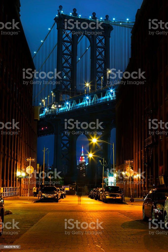 New York City at night. stock photo