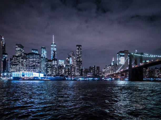 New York City at night View from Brooklyn stock photo