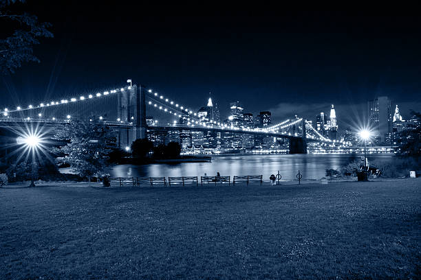 New York City at night. View from park of Brooklyn stock photo