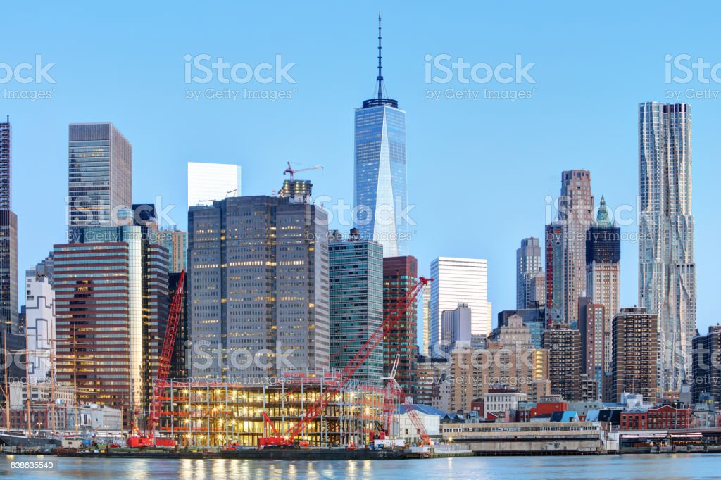 New York City at night with freedom tower stock photo