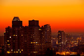 Skyline of New York City at dusk.