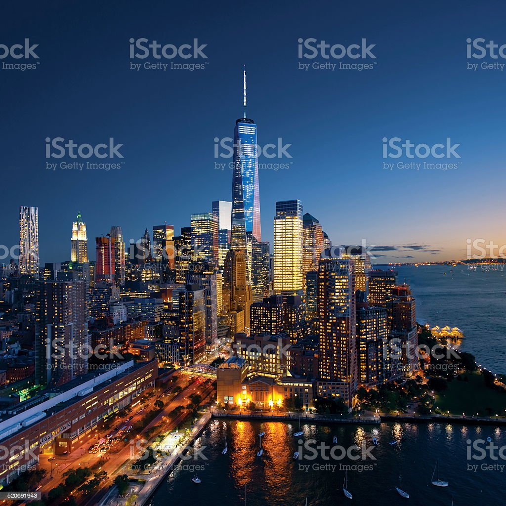 New York City - beautiful colorful sunset over manhattan stock photo