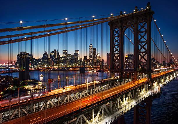 New York City - beautiful sunset over manhattan stock photo