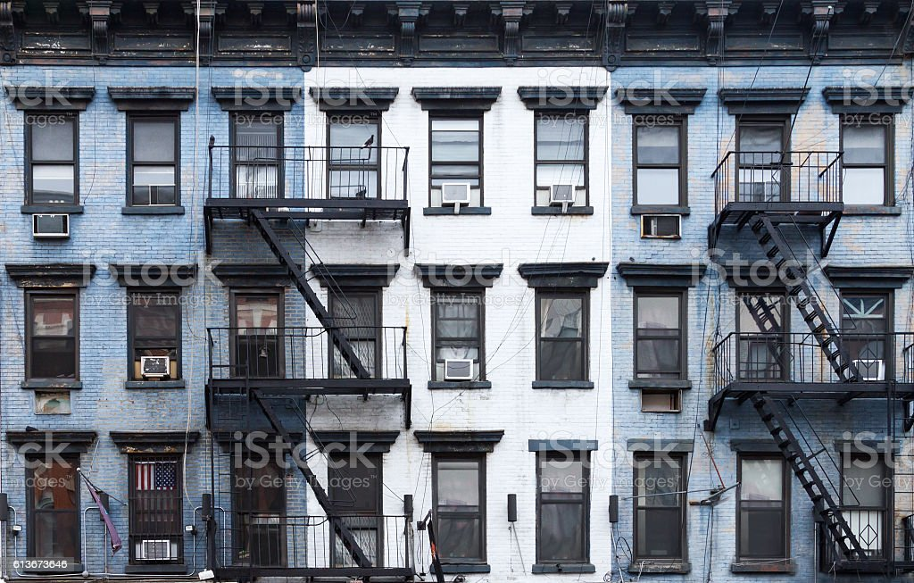 New York City Blue And White Brick Apartment Buildings Royalty Free Stock  Photo