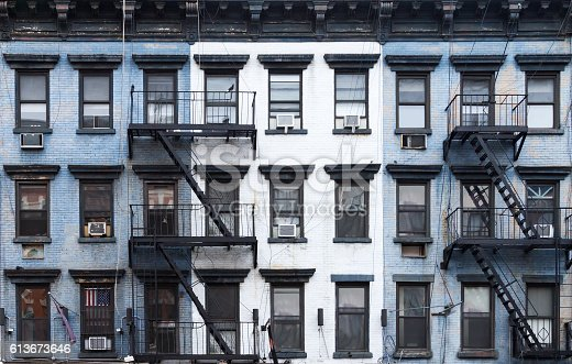 istock New York City Blue and White Brick Apartment Buildings 613673646