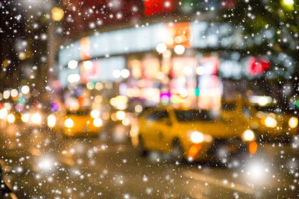 New York City Blur with snow stock photo