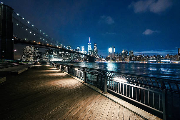 new york city - brooklyn bridge park - night stock photos and pictures