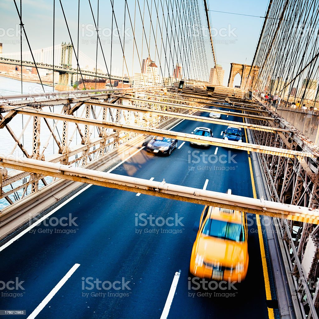 New York City Brooklyn Bridge Traffic royalty-free stock photo