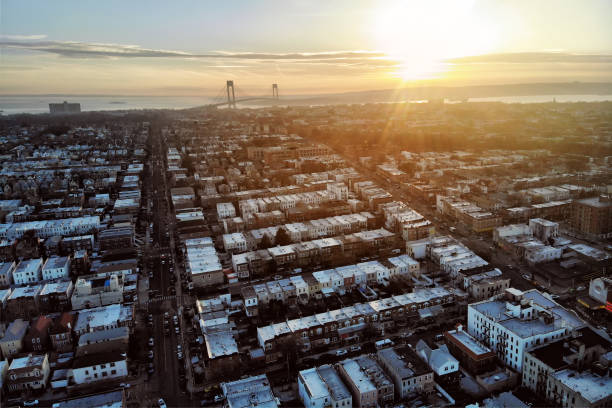 New York City Brooklyn neighborhood with private houses. Aerial view. stock photo