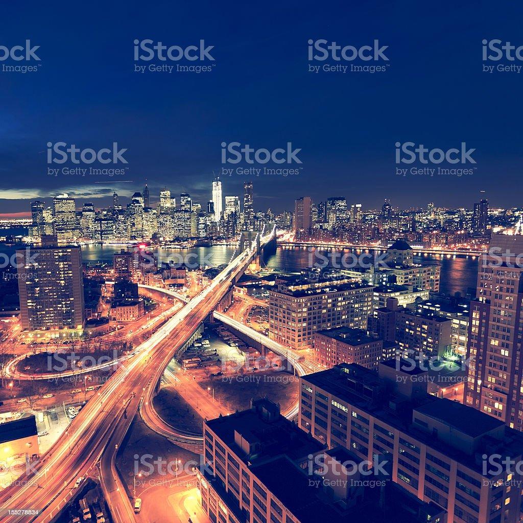 New York City by night stock photo