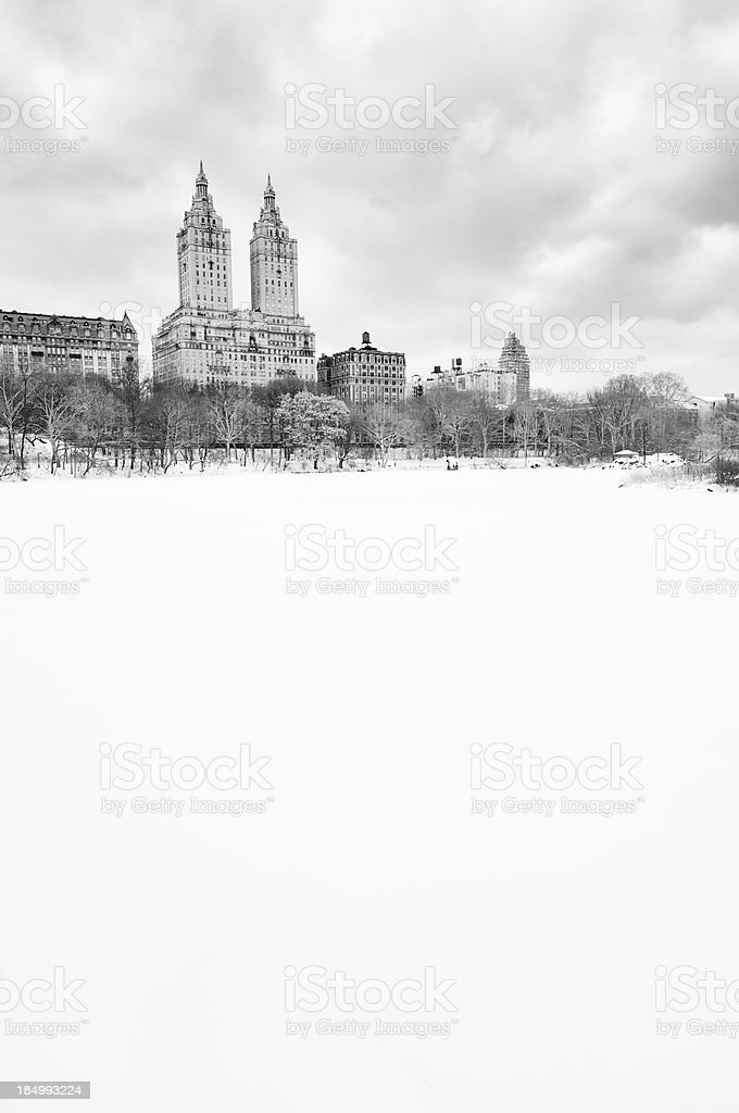 New York City Central Park Winter Snow Scene stock photo