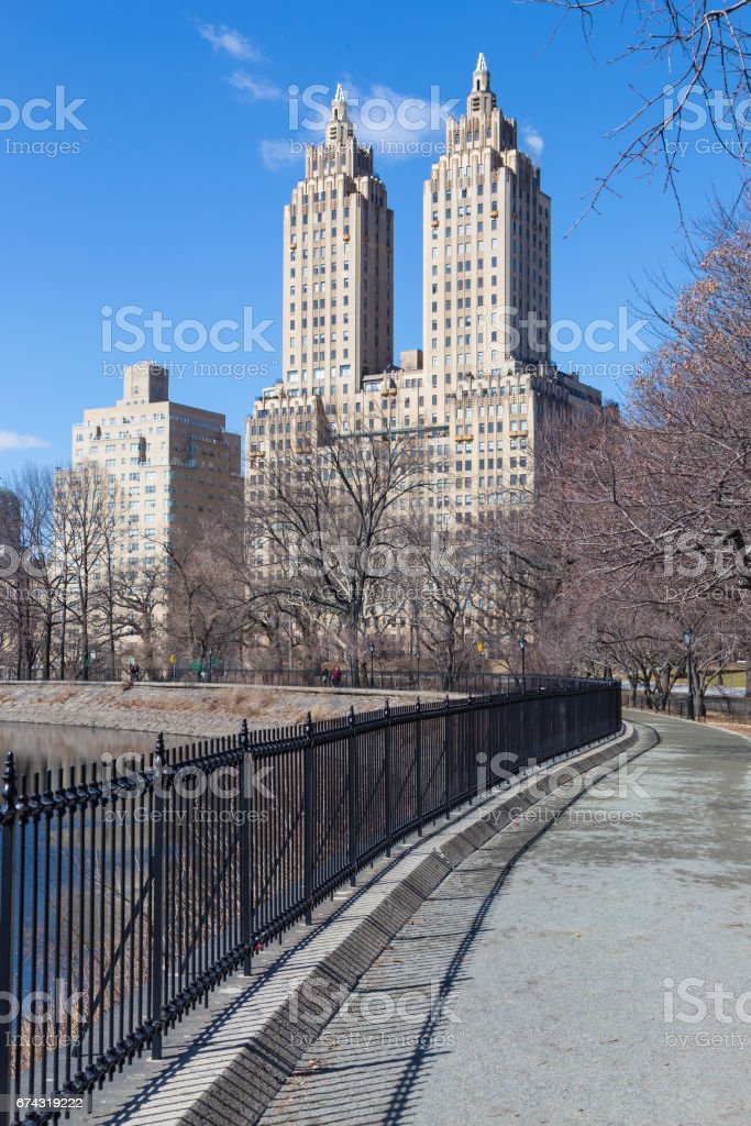 New York City, Central Park with Jacqueline Kennedy Onassis Reservoir. stock photo