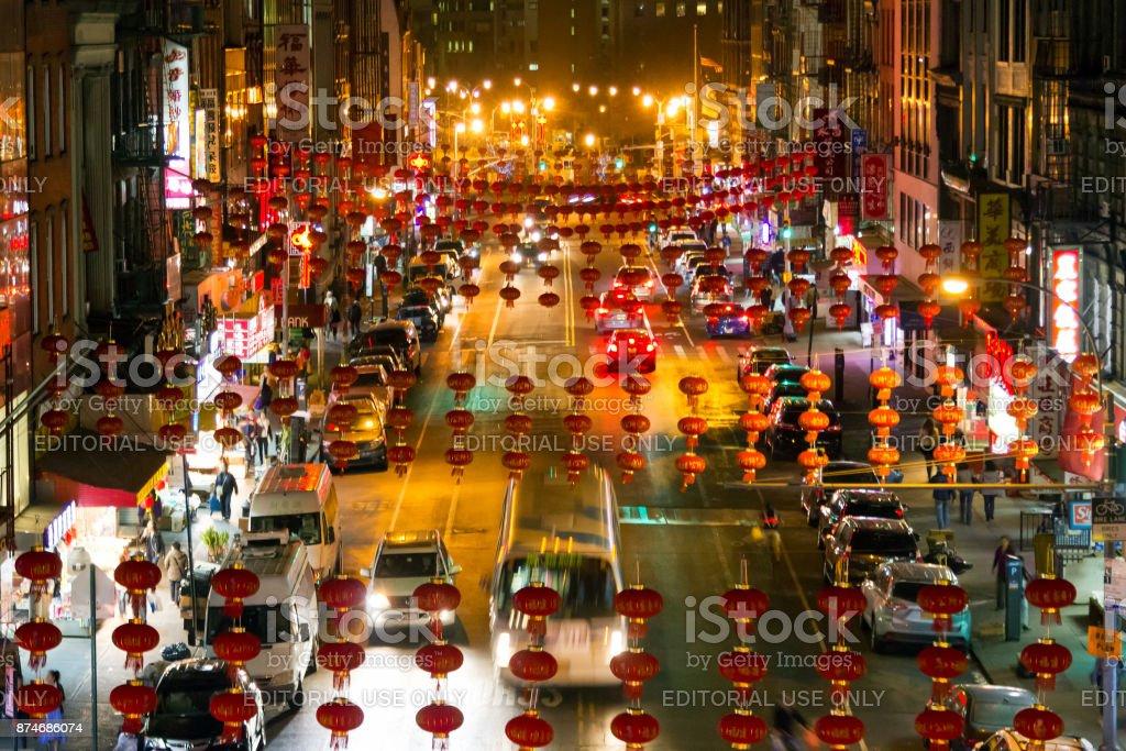 New York City Chinatown Night Street Overhead View Stock Photo Download Image Now Istock