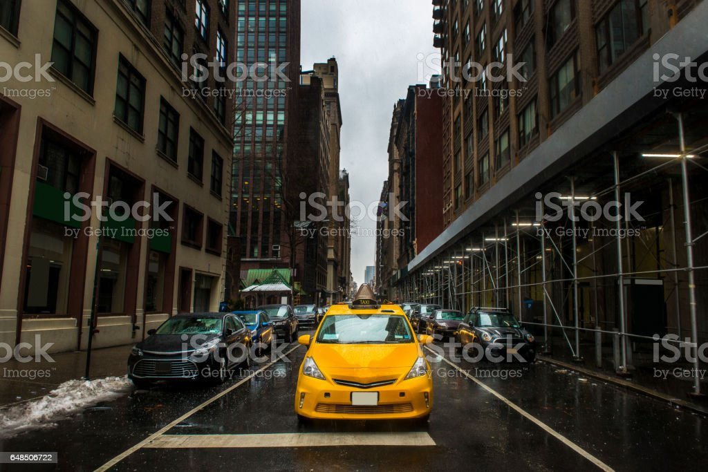 New York City cityscape in rainy day stock photo