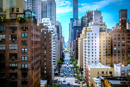 New York City Colorful Street Canyon Stock Photo - Download Image Now