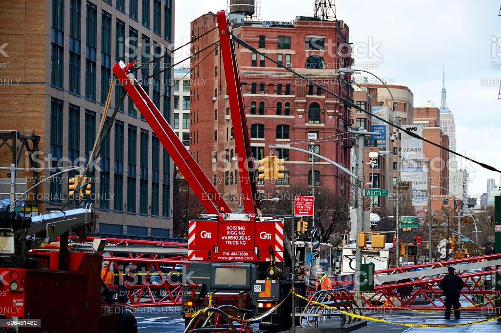 New York City Crane collapse stock photo
