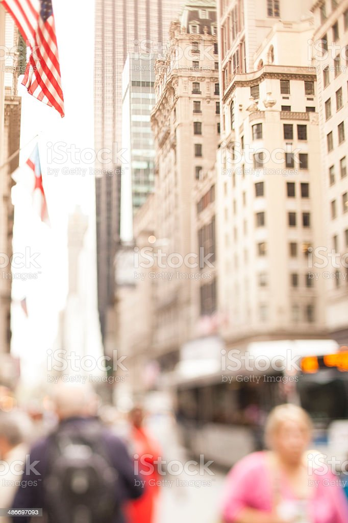 People walking in the streets of Manhattan. Tilt shift lens used.