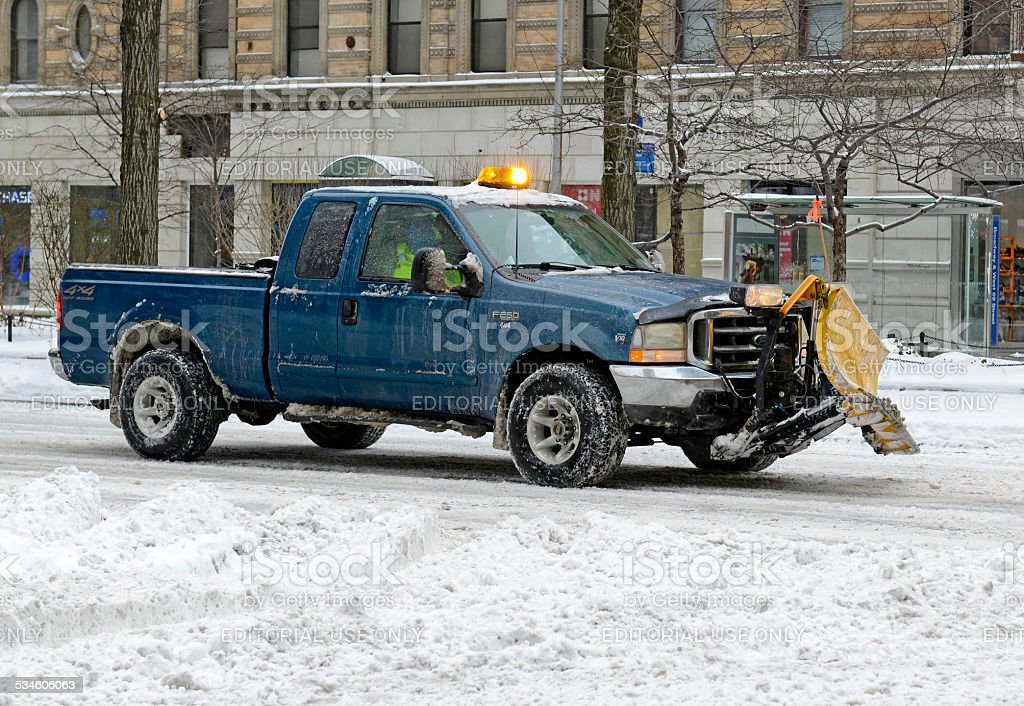 New York City digs out after winter snowstorm stock photo