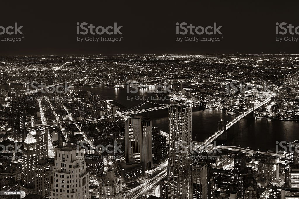 New York City downtown at night royalty-free stock photo