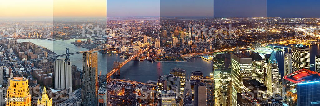 New York City downtown day and night stock photo