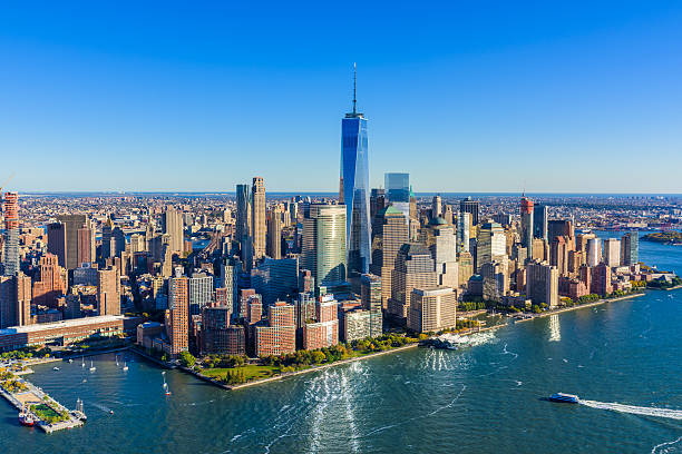 New York City Downtown Manhattan skyline Aerial view, Freedom Tower stock photo