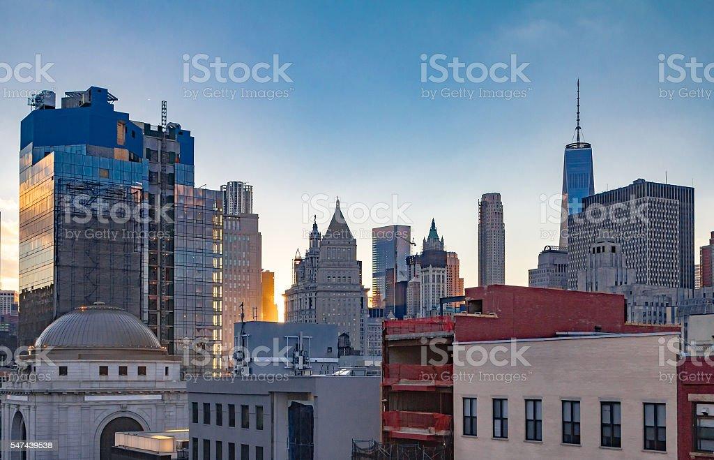 New York City Downtown Skyline at Sunset stock photo