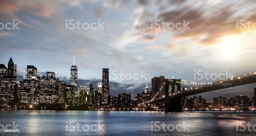 New York City downtown skyline, USA stock photo