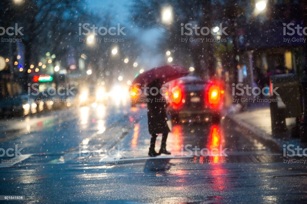 New york city during rain and snow stock photo