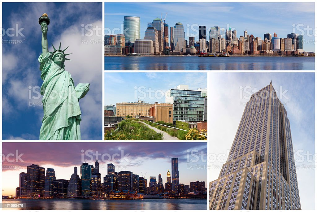 New york city famous landmarks picture collage - USA royalty-free stock photo