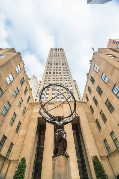 New York City, Fifth Avenue, Rockefeller Plaza.The Statue of Atlas in front of the Rockefeller Center in New York City stock photo