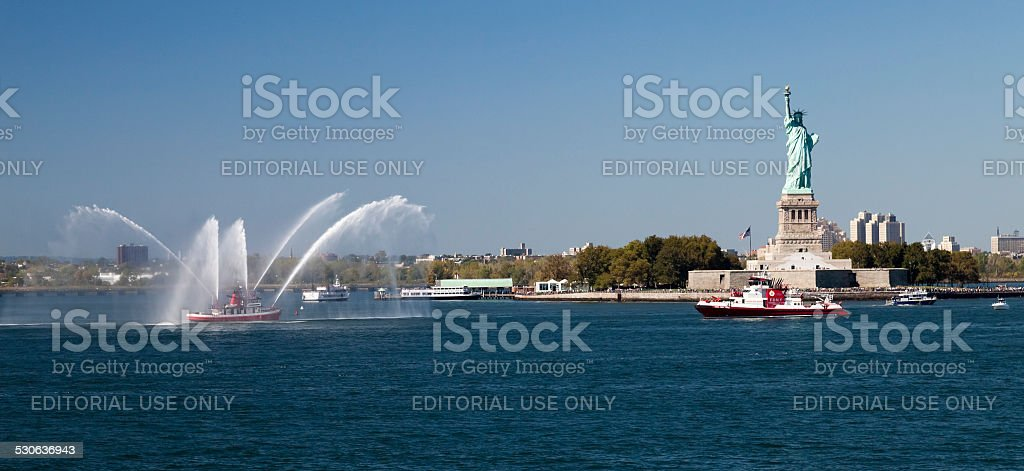 New York City Fire Department Boat and Statue of Liberty stock photo