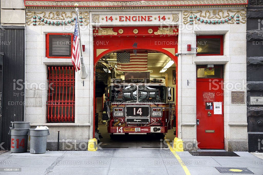 New York City fire station, engine 14 stock photo