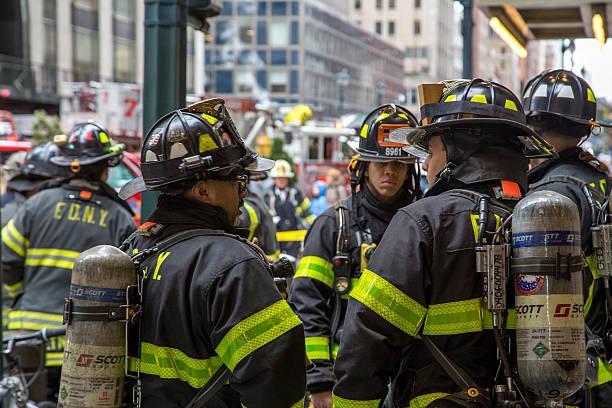 New York City Firemen and Truck stock photo
