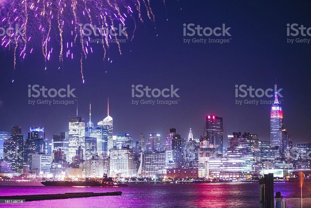 New York City Fireworks royalty-free stock photo