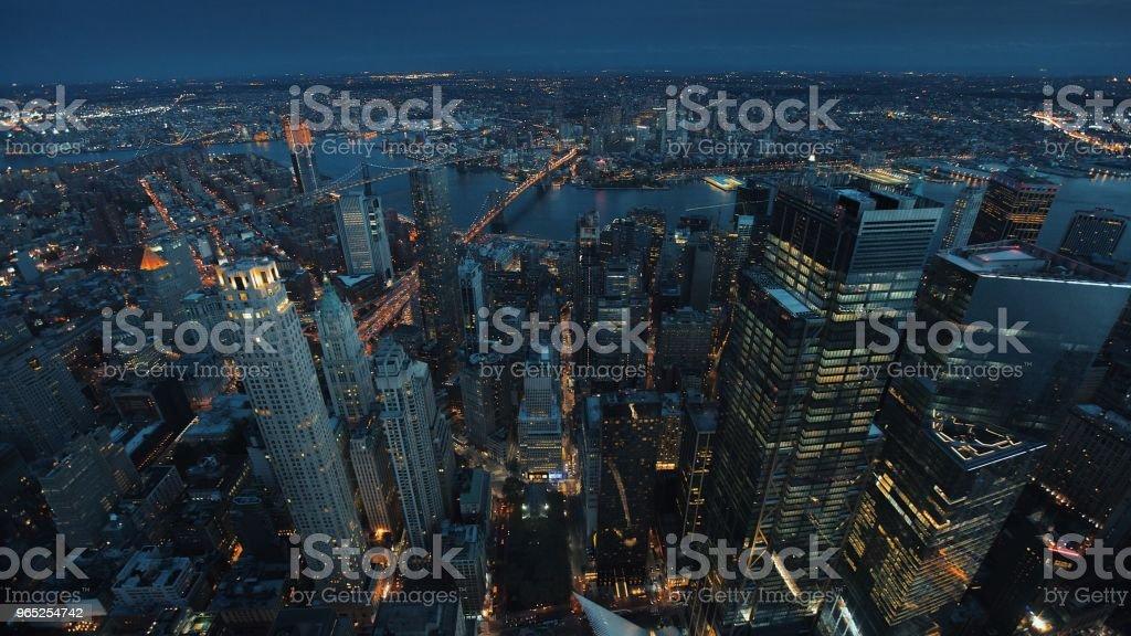 New York City from above at Night zbiór zdjęć royalty-free