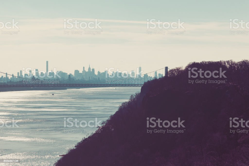 New York City from Palisades Interstate Parkway stock photo